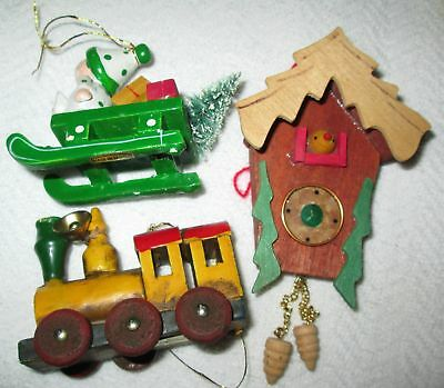 Vintage Lot of 3 Wood Hand Painted Enesco Train Sleigh & Cuckoo Clock Ornaments