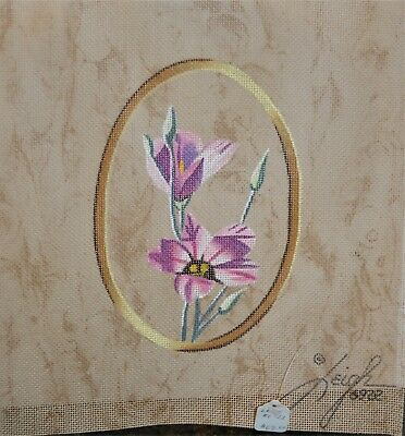 Leigh - Pink Iris Flower 18 Count Needlepoint Canvas #6922 - 10 X 10