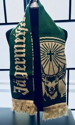 """Jagermeister Green and Cream Fringed Scarf 56"""" Long x 7"""" Wide New in Package"""
