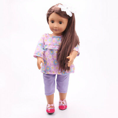 Doll Clothes Floral Tops Pants Suit Dress Up for 18inch American Girl Doll