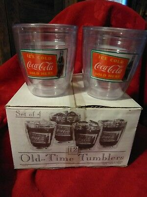 4 - New - Coca Cola  - Old Time Tumblers - 12 Oz. Plastic Insulated Glasses