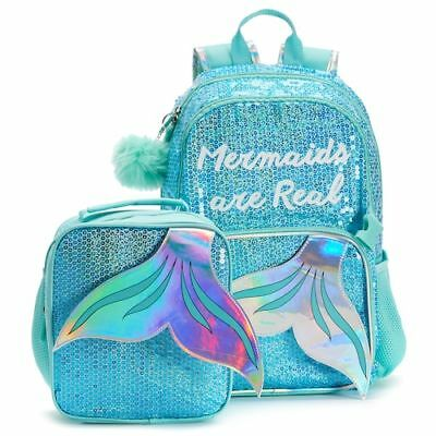 """NWT NEW Kids """"Mermaids Are Real"""" Sequin Backpack & Lunch Bag Set kit box"""