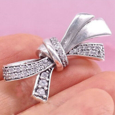 925 Silver Plated BRILLIANT BOW Charm Bead Baby Birthday Day Gift Fit bracelet