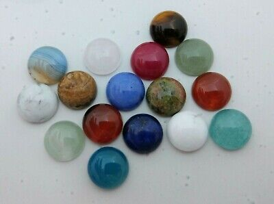 10pc 12mm Gemstone Cabochons Natural & Colour Enhanced Stone DIY Charms Craft