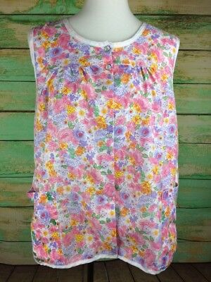 Moon Dance Women's Floral Multicolored Smock Top w Pockets Sz M