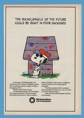 1985 Peanuts Snoopy Painter Art Met Metropolitan Life Insurance print Ad
