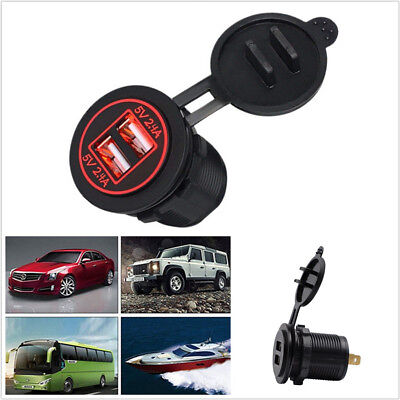 Universal Red LED Car SUV RV Dual USB Charger Socket 2.4A&2.4A+In-Line 10A Fuse