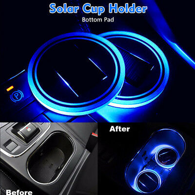 2X Car Solar Cup Pad Holder Pad LED Light Cover Trim Interior Decoration Lamp