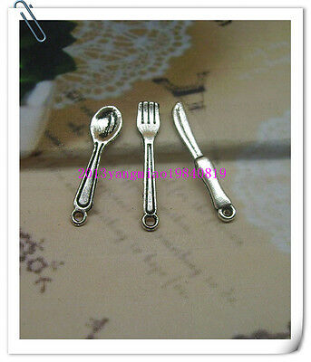 Free shipping 50/200 PCS ancient lovely delicate silver and/knife charm pendant