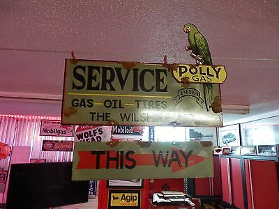 Antique style porcelain look Polly Gas dealer service gas pump 2 piece sign set