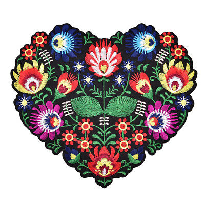 1Pc Heart Shape Flower Embroidery Applique Patches for ClothingIron on AppliqueR