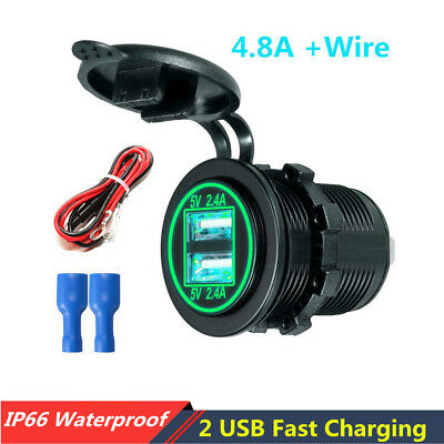 4.8A Car Boat Dual USB Fast Charger Socket Power Outlet w/Wire In-line 10A Fuse