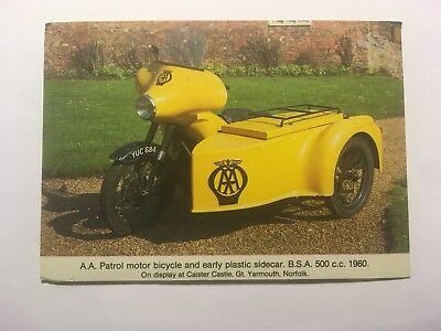 AA Patrol Motorcycle, 1960, Caister Castle - Old Postcard - Unposted