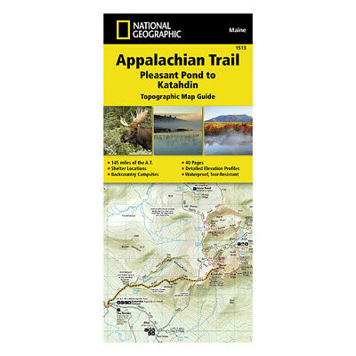 National Geographic Appalachian Trail Map Pleasant Pond to Katahdin 1513