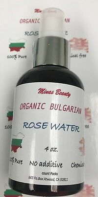 Organic Rose Water 4oz Chemical Free Import from Bulgaria 100% Pure spray toner