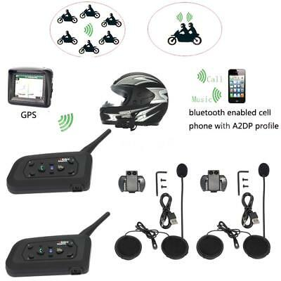 2pcs BT Bluetooth Motorrad Helm Interphone Intercom Headset 1200M 6 Fahrer P7E6
