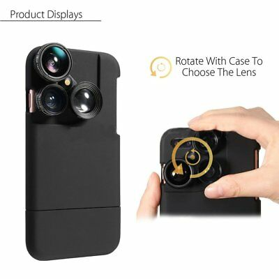 4 in1 Camera Lens Kit For iphone X 8 7 Plus Fisheye+Macro+Wide Angle+Phone Case