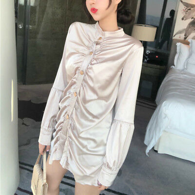 Women Sexy Satin Silky Shirt Blouse Ruched Dress Shiny Vintage Long Sleeve New
