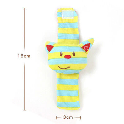 Baby Boy Girl A Infant Soft Toy Cat Wrist Rattles Finders Wristband  BS