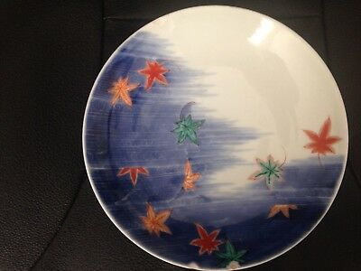 19th C Nabeshima Dish Maples And Waves
