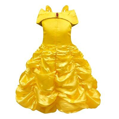 Princess Belle Costume Dress for Kids Girls Halloween Cosplay Fancy Party Dress