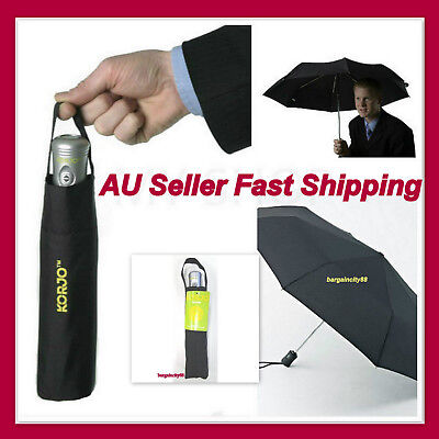 KORJO Small Lightweigt Windproof Automatic Folding Travel Umbrella Compact Black