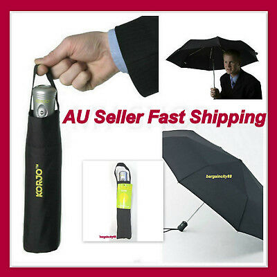 Automatic Open &Close Umbrella Folding Compact Strong Windproof Travel Light BLK