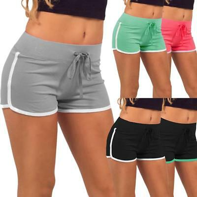 Womens Cotton Jersey Shorts Elastic Waist Summer Beach Casual Yoga Hot Pants UK