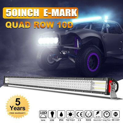 DUAL COLOR 50NCH 1152W LED LIGHT BAR SPOT FLOOD FLASH FOR JEEP Chevrolet GMC UTE