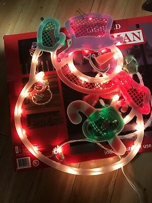 2010 impact innovations christmas lighted window decoration snowman w box