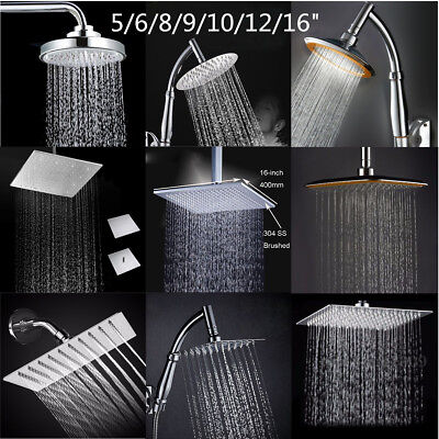 6/8/9/10/16'' Larger Rain Shower Head Square Round Top High Pressure Bath Chrome