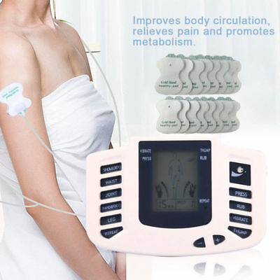 Tens Machine Pain Relief Digital Therapy Full Body Massager Acupuncture Back Uk+