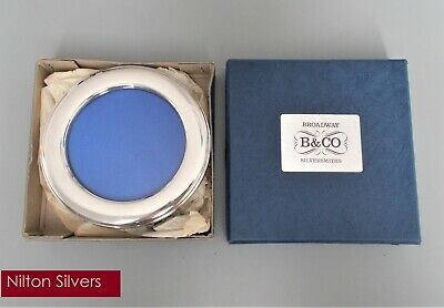Boxed vintage solid silver 4.5'' circular photo frame, Broadway & Co, B'ham 1985
