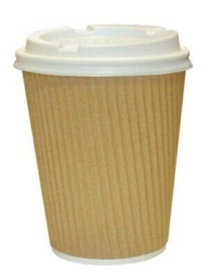 Thali Outlet - 500 x Kraft 12oz Ripple Paper Cups + White LIDS, 3 Ply Insulated