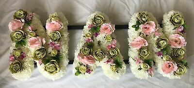 Nan Artificial Silk Funeral Flower Any 3 Letter Tribute Name Wreath Open Design