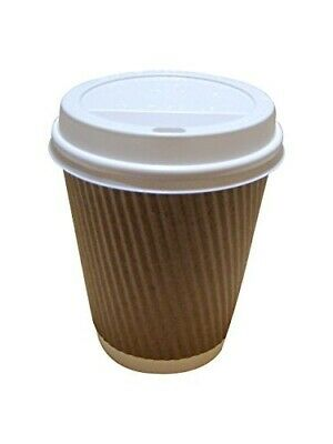 50 8oz-12oz Brown Kraft Triple Wall Paper Coffee Cups With White Sip Lids (8OZ 5