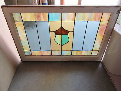 ~ANTIQUE AMERICAN STAINED GLASS WINDOW ~ 36 x 23.75 ~ ARCHITECTURAL SALVAGE ~