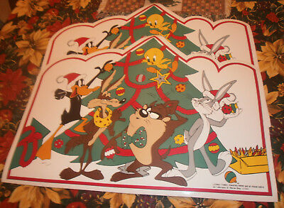 Looney Tunes Placemats (2) Daffy Duck and Bugs Bunny Christmas Vinyl 1995 Toons
