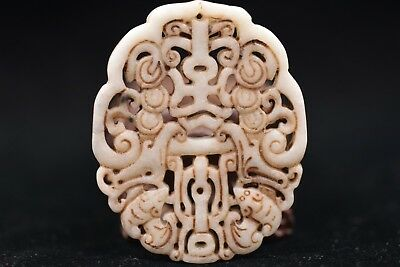 Chinese Ancient Hand carved exquisite old jade Amulet Pendant S7