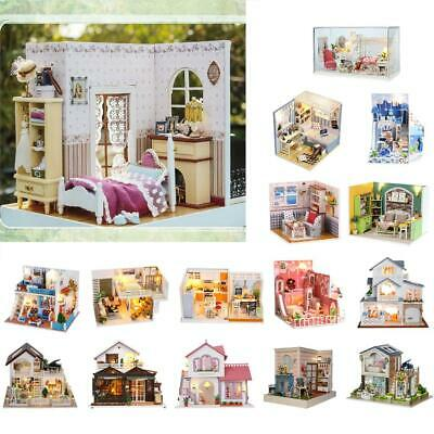 15 Patterns DIY Wooden Dolls House Miniature Kit Furniture+LED+Music Box+Cover