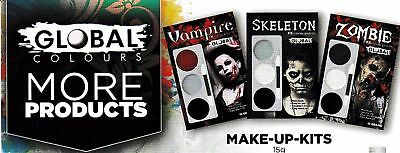 Global Colours Zombie Skeleton Vampire FX Colour Palette Face Paint Halloween