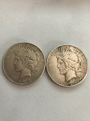 Lot of 2 Peace Silver Dollars  / 1922  1925  US