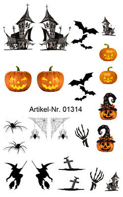 Halloween NailArt Sticker Nagelsticker Nageldesign Tattoo 01314 - 20 Stück