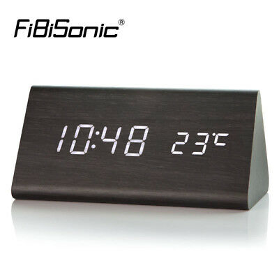 Wooden Led Alarm Clock Nightstand Desk Table Digital Watch with Wood Finish