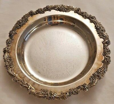 "Sheffield Silver Plate Serving Tray 12"" Round Flowers and Leaves"