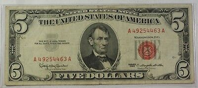 Series of 1953/1963 Five Dollar Bill $5 *Red Seal* United States Currency VG-VF