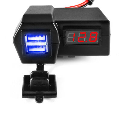 Waterproof Motorcycle Phone Charger 3.1A Dual USB Port w/ LED Voltmeter MA1037