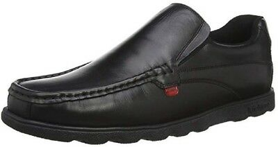 New Mens Kickers Black Fragma Slip Leather Shoes