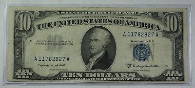 Series of 1953 $10 Ten Dollar Silver Certificate Note VG-F Old US Currency