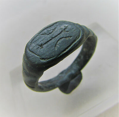 Roman Era Legionary Seal Ring Sw0Rd And Two Bows On Bezel